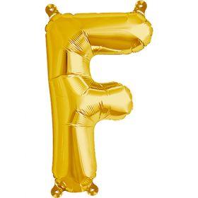 16 inch Gold Letter F Foil Mylar Balloon