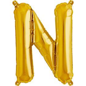 16 inch Gold Letter N Foil Mylar Balloon
