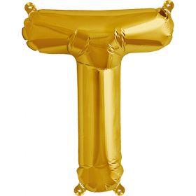16 inch Gold Letter T Foil Mylar Balloon