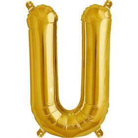 16 inch Gold Letter U Foil Mylar Balloon
