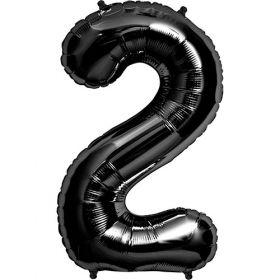 34 inch Black Number 2 Foil Mylar Balloon