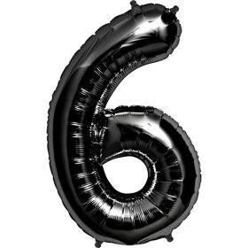 34 inch Black Number 6 Foil Mylar Balloon