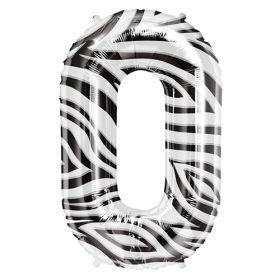 34 inch Zebra Stripe Number 0 Foil Mylar Balloon