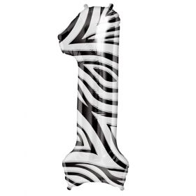 34 inch Zebra Stripe Number 1 Foil Mylar Balloon