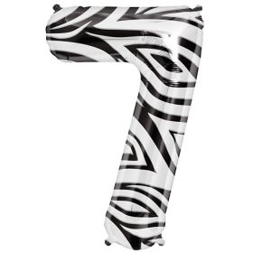 34 inch Zebra Stripe Number 7 Foil Mylar Balloon