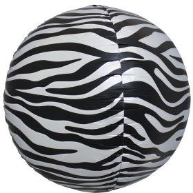 17 inch Northstar Black Zebra Stripe Sphere Foil Balloons