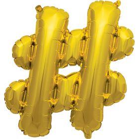 16 inch Gold Hashtag Foil Mylar Balloon
