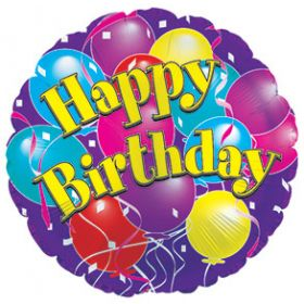 """18"""" Foil Mylar Circle Happy Birthday Big Birthday Balloons Balloon"""