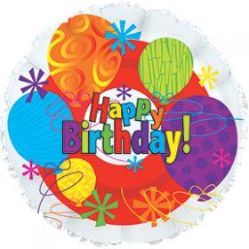 "18"" Foil Mylar Circle Happy Birthday Bright Balloon"