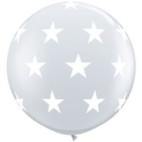 Qualatex Big Stars Around Diamond Clear 36 inch Latex Balloons - 2 count