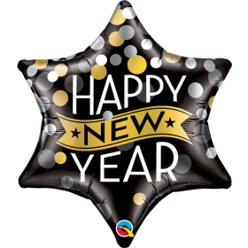 Qualatex 22 inch Foil Mylar Happy New Year Confetti Dots 6 Point Star Balloon