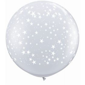 Qualatex Stars Around Diamond Clear 36 inch Latex Balloons - 2 count