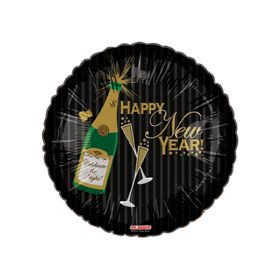 "18"" Foil Mylar Happy New Year Round Balloon - Sparkling Champagne"