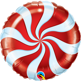 Qualatex 18 inch Foil Mylar Red Candy Swirl Round Balloon