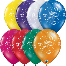 Qualatex 11 inch Happy New Year Party Jewel Assorted Latex Balloons - 50 count