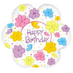 """18"""" Foil Mylar Flower Shape Happy Birthday Flowers & Butterflies Balloon"""