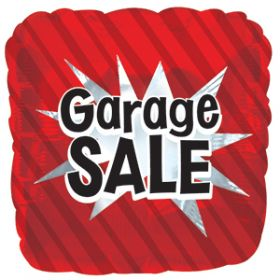 18 inch Foil Mylar Red Square Garage Sale Balloon