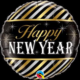 Qualatex 18 inch Foil Mylar Happy New Year Diagonal Stripes Round Balloon