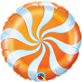 Qualatex 18 inch Foil Mylar Orange Candy Swirl Round Balloon