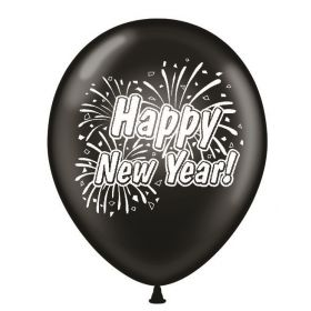 11 inch Happy New Year 2 Sided Black Latex Balloons - 100 count