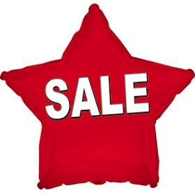 "18"" Foil Mylar Red Star Sale Balloon"