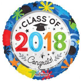 18 inch Class of 2018 Congrats Circle Foil Balloon
