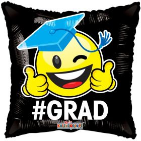 18 inch # GRAD Smiley Face Square Gellibean Balloon