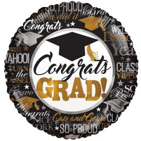 18 inch Congratulations GRAD Silver & Gold Circle Foil Balloon