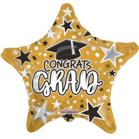 18 inch Congrats GRAD Star Foil Balloon - Gold