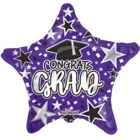 18 inch Congrats GRAD Star Foil Balloon - Purple