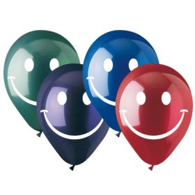 12 inch CTI Smiley Face Latex Balloons Crystal Assorted 2 Sided - 50 count