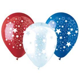 12 inch CTI Big Star Patriotic Latex Balloons - 50 count