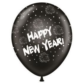 11 inch Happy New Year All-Around Black Latex Balloons - 50 count