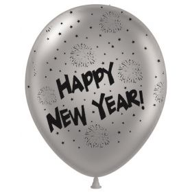 11 inch Happy New Year All-Around Silver Latex Balloons - 50 count