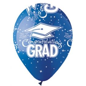 12 inch CTI Congratulations GRAD Blue Latex Balloons - 50 count
