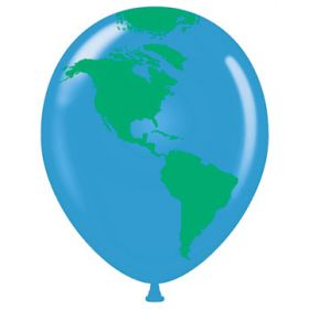 11 inch Tuf-Tex Earth Globe All-Around Latex Balloons - 50 count