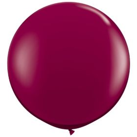 36 inch Tuf-Tex Round Latex Balloons - Crystal Burgundy