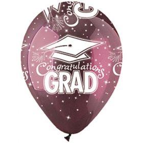 12 inch CTI Congratulations GRAD Burgundy Latex Balloons - 50 count