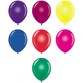 9 inch Tuf-Tex Latex Balloons - Crystal Assorted - 100 count