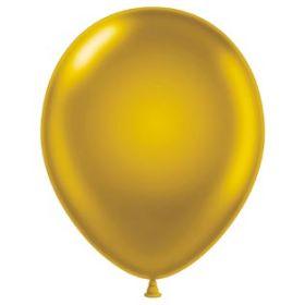 9 inch Tuf-Tex Latex Balloons - Metallic Gold - 100 count