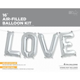 16 inch Silver LOVE Letter Balloon Kit - AIR FILL