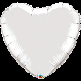 Qualatex 36 inch Silver Heart Foil Balloons