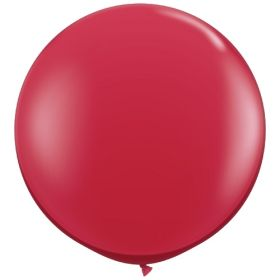 36 inch Tuf-Tex Round Latex Balloons - Crystal Ruby Red