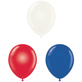 24 inch Tuf-Tex Latex Balloons - Patriotic Assorted - 25 count