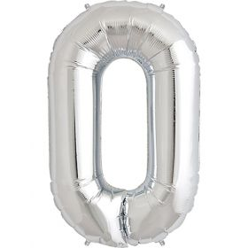 34 inch Silver Number 0 Foil Mylar Balloon