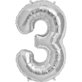 34 inch Silver Number 3 Foil Mylar Balloon