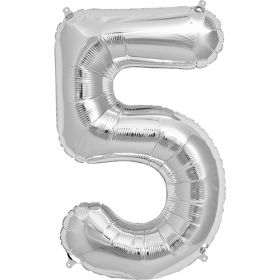 34 inch Silver Number 5 Foil Mylar Balloon