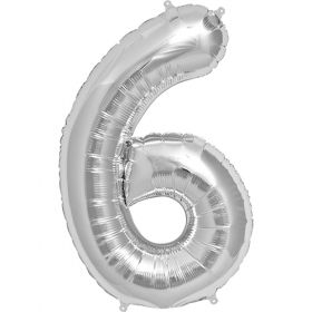 34 inch Silver Number 6 Foil Mylar Balloon