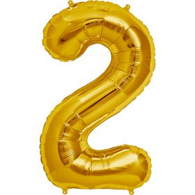 34 inch Gold Number 2 Foil Mylar Balloon