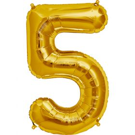 34 inch Gold Number 5 Foil Mylar Balloon